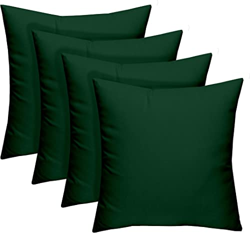 Resort Spa Home Decor Set of 4 – Indoor Outdoor 17 Square Decorative Throw Toss Pillows – Solid Hunter Green