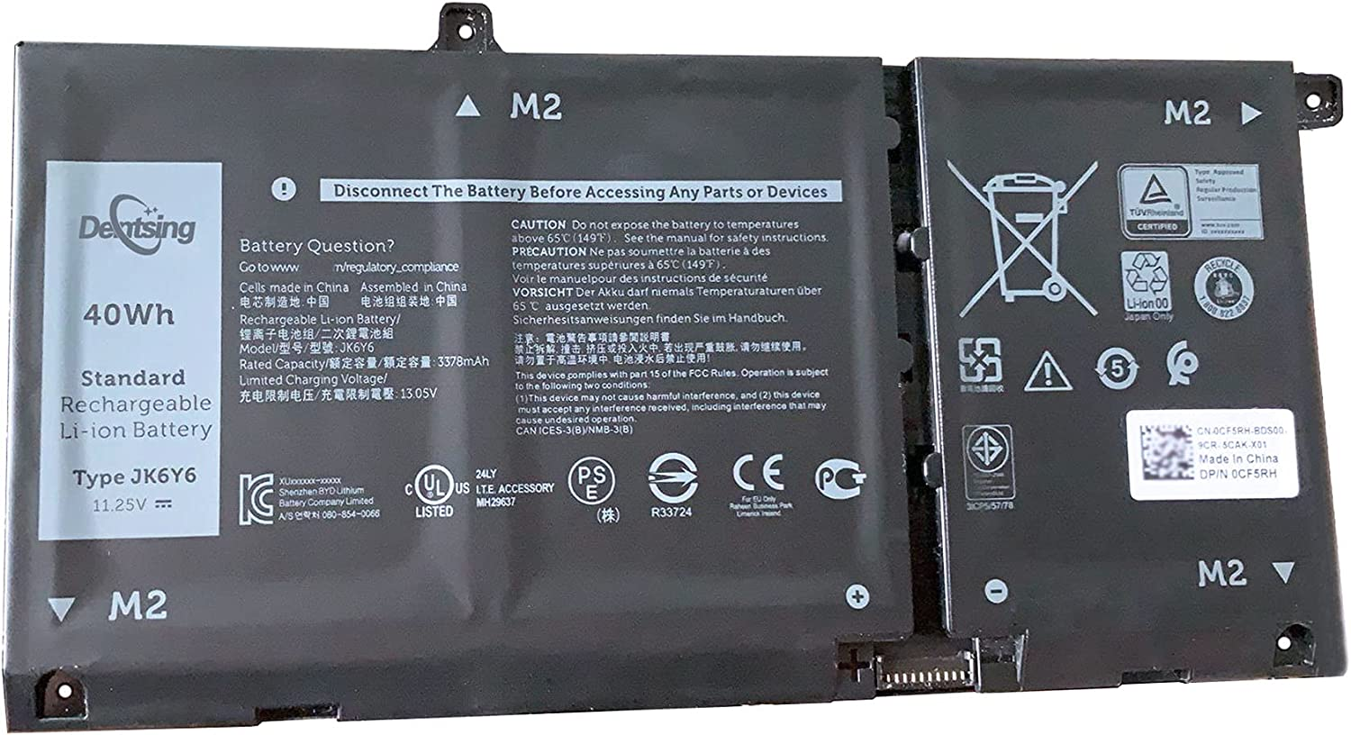 Dentsing JK6Y6 11.25V 40W/3550mAh 3Cells Laptop Battery Compatible with Dell Latitude 15 3510 Inspiron 5301 5401 5402 5405 5409 15 5502 5508 5509 Vostro 5300 5401 5501 Series Notebook CF5RH H5CKD