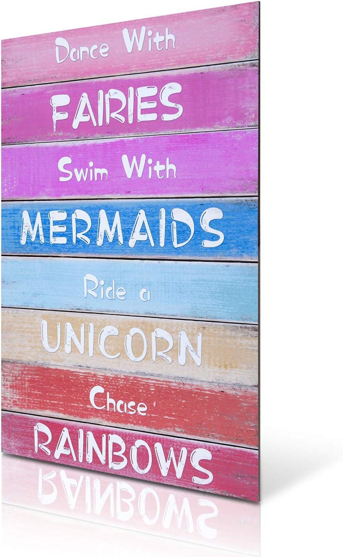 HERZOME Rainbow Unicorn Wall Hanging Sign for Girls, Wood Decorative Hanging Plaque for Kid's Bedroom, Nursery, College Dorm, Girls Room Decor. Gift for Unicorn, Mermaid, Fairy, Rainbow Lovers, 15.7x10.8