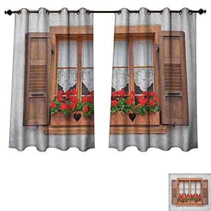 Country Bedroom Thermal Blackout Curtains Print Of Old European Windows  With Shutters And Flowers Pots In