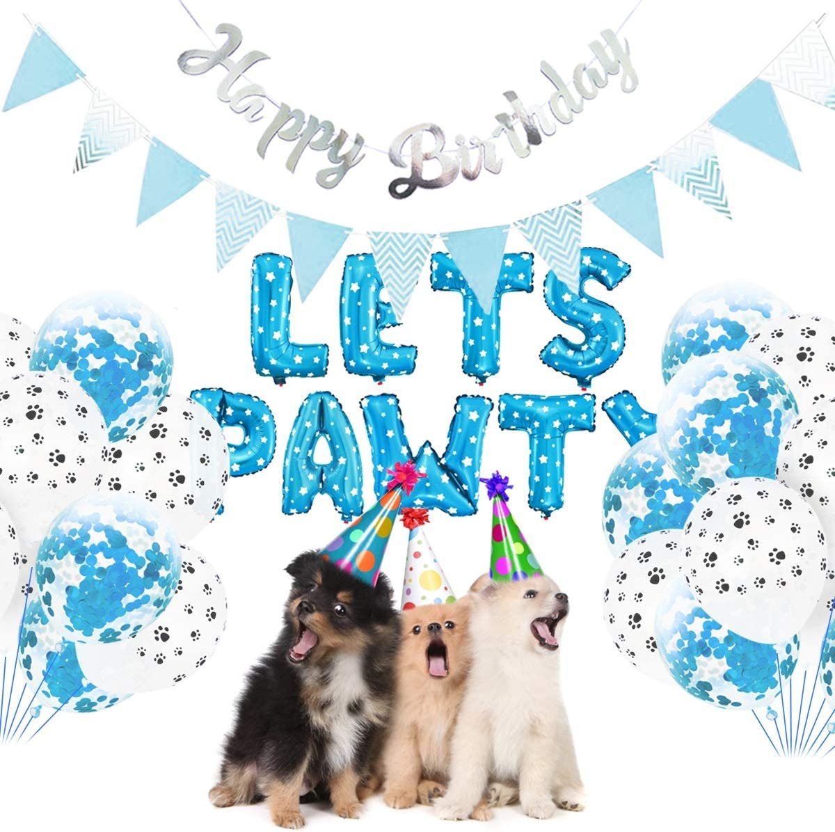 Haokaini Lets PAWTY Decor for Dog Cat 23Pcs//Set Party Decor Kits Balloons Birthday Banners Party Supplies for Dog Cat Pets Supplies