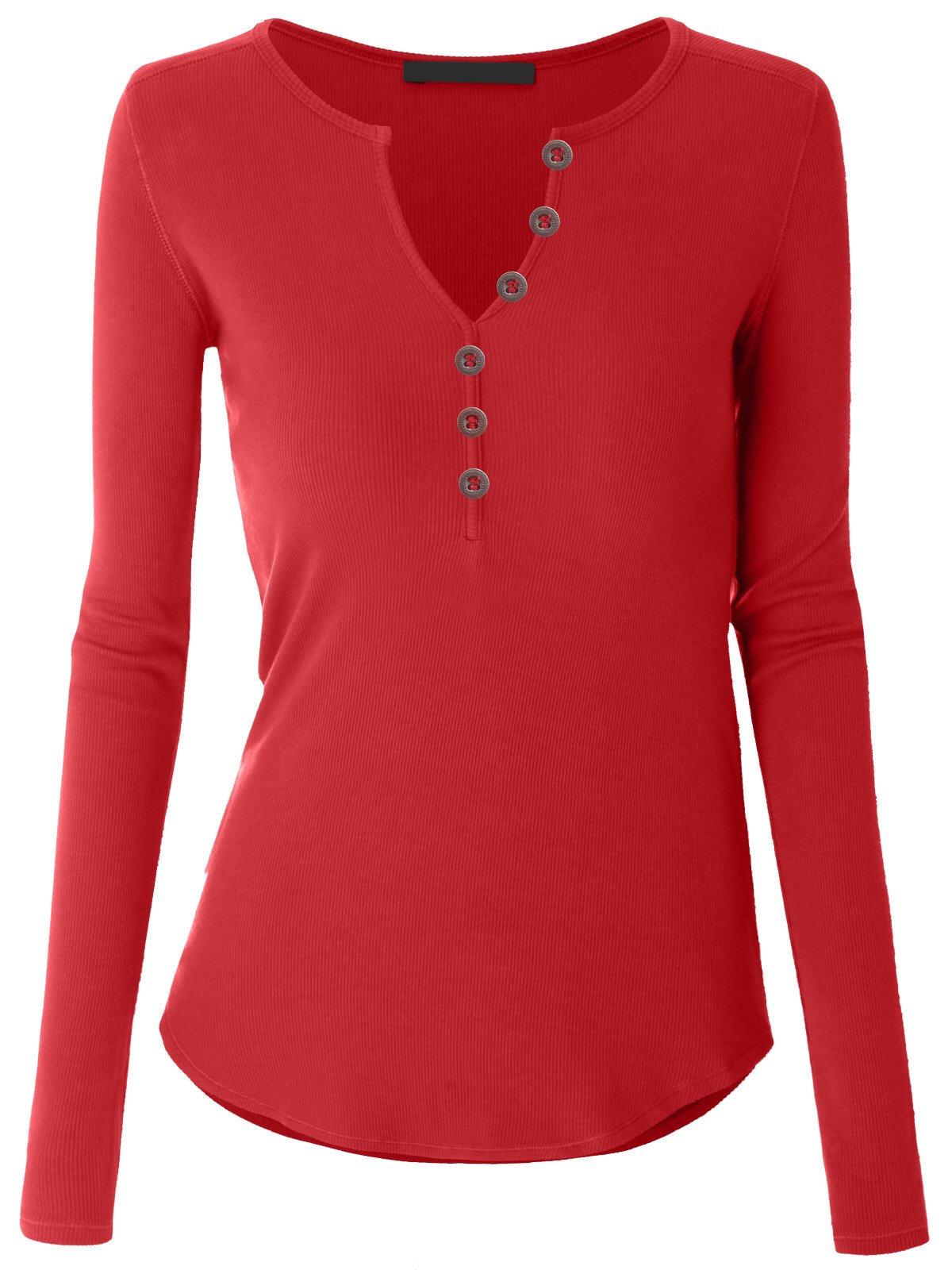 Tengo Women Casual Loose Fit Thermal Tops Shirt Cotton Henley V-Neck Ribbed T-Shirt(Red,S)