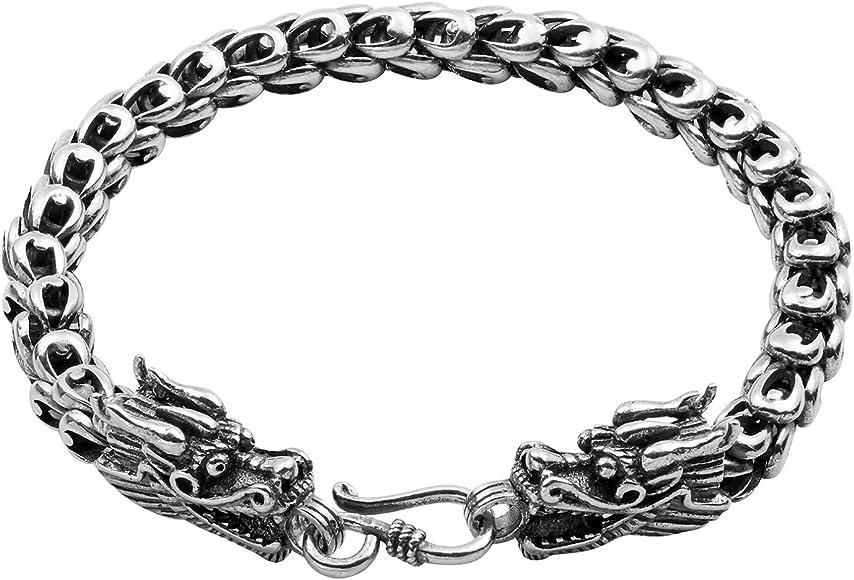 "Vintage Stainless Steel Mens Dragon Head Link Chain Biker Bangle Bracelet 8.5/"""