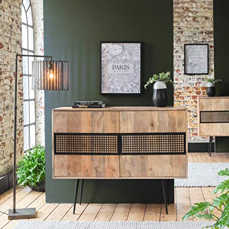 Made In Meubles Buffet Bois Metal Grillage 2 Portes Vt22 Amazon
