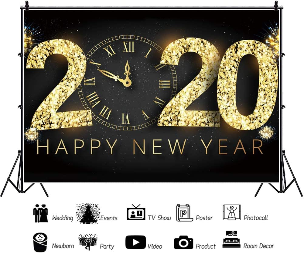 Leyiyi 12x10ft Happy New Year Backdrop Countdown Party Vintage Clock Eve Party Snowflake Golden Glittering Sparkling 2020 Happy New Year Firework Christmas Party Decoration Photo Studio Prop