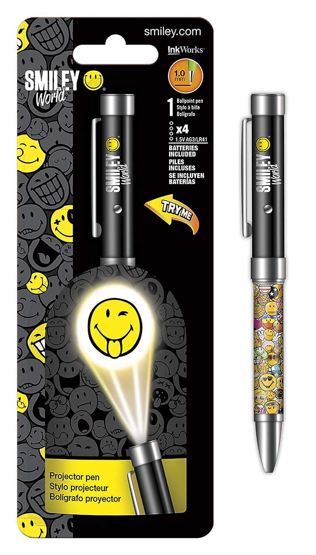 Proyector - Bolígrafo SmileyWorld - Linterna 1,0 mm bolígrafo ...