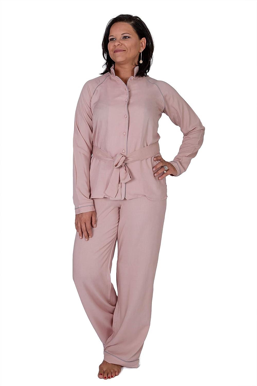 Salmon Zentraedi Claudia Moruzzi Women's Sleepwear Pajama Set Long Sleeve ButtonUp Shirt and Pants
