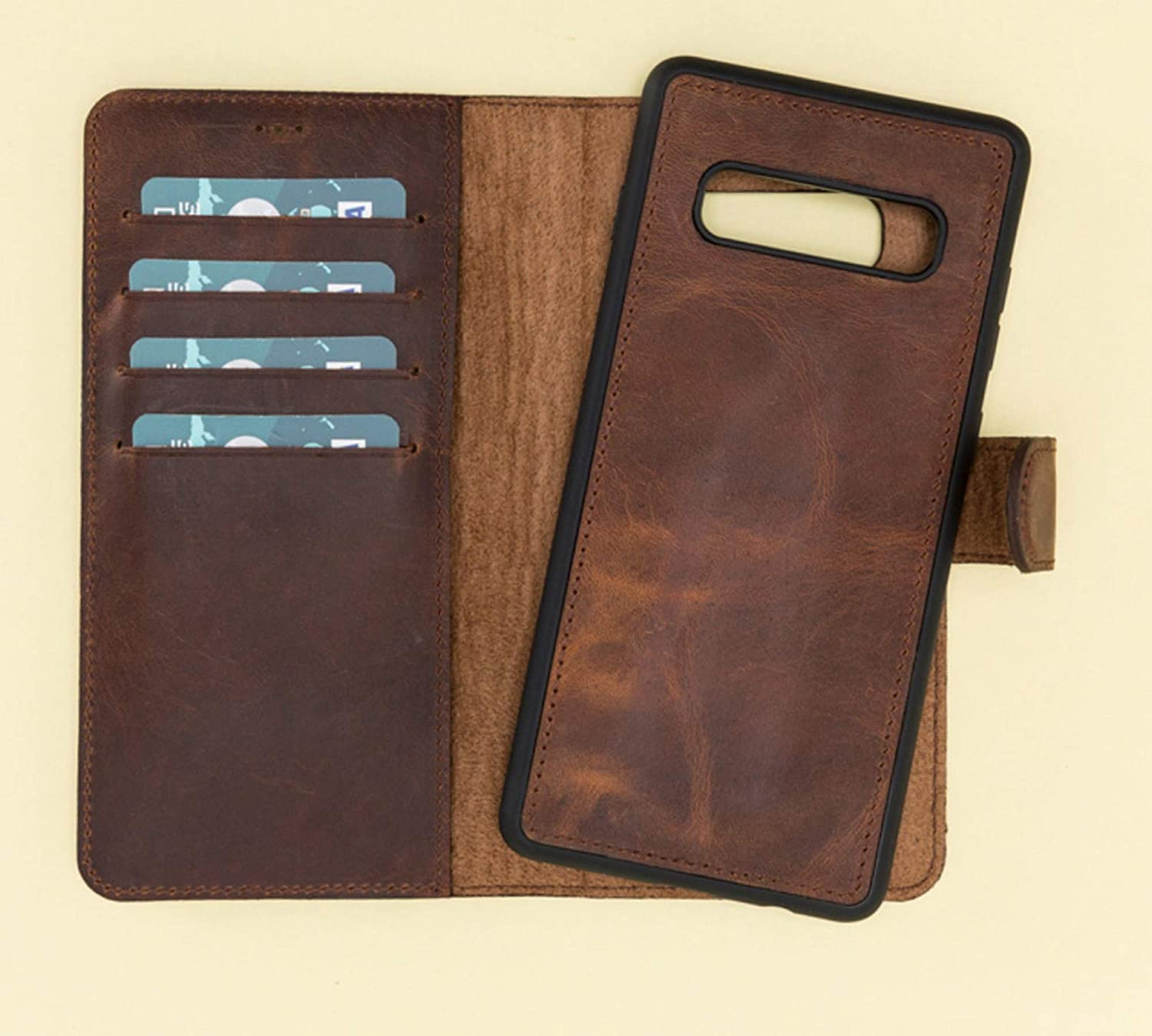 Personalized Leather Galaxy S10 plus case Wallet vintage rustic Genuine Leather cases for Galaxy Smart Phone