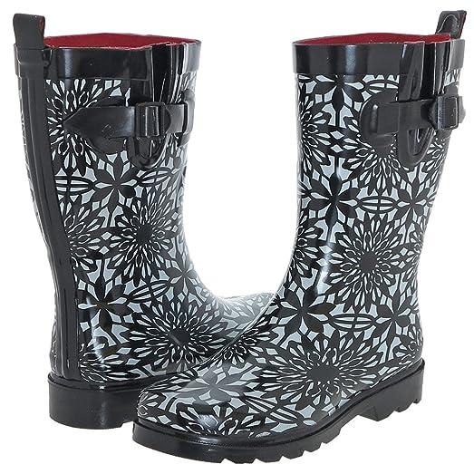 Capelli New York Ladies Daisy Lace Printed Rain Boot Black Combo 6
