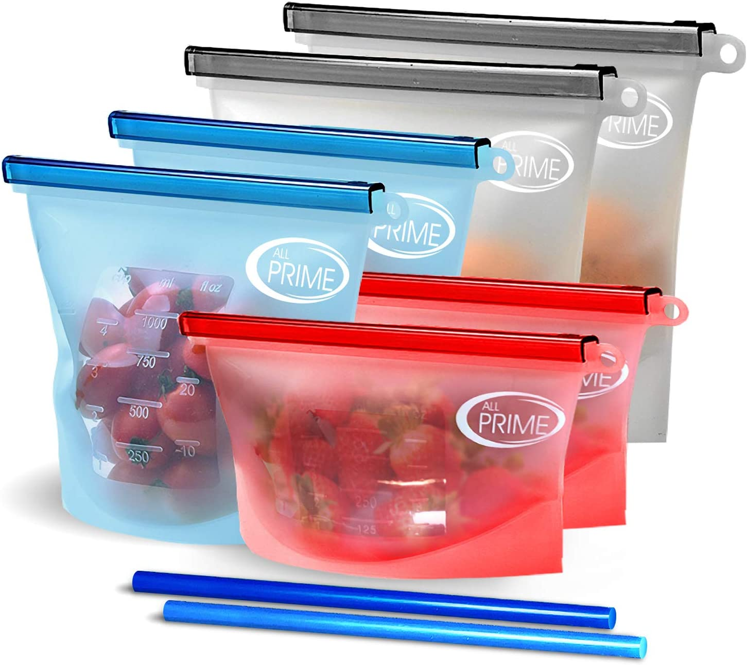 All Prime Reusable Silicone Food Storage Bags – 6 Pack Zip Top Containers + 2 Free Silicone Straws - Eco Friendly Food Storage Bags with Zip Lock Seal – Reusable Silicone Food Bags