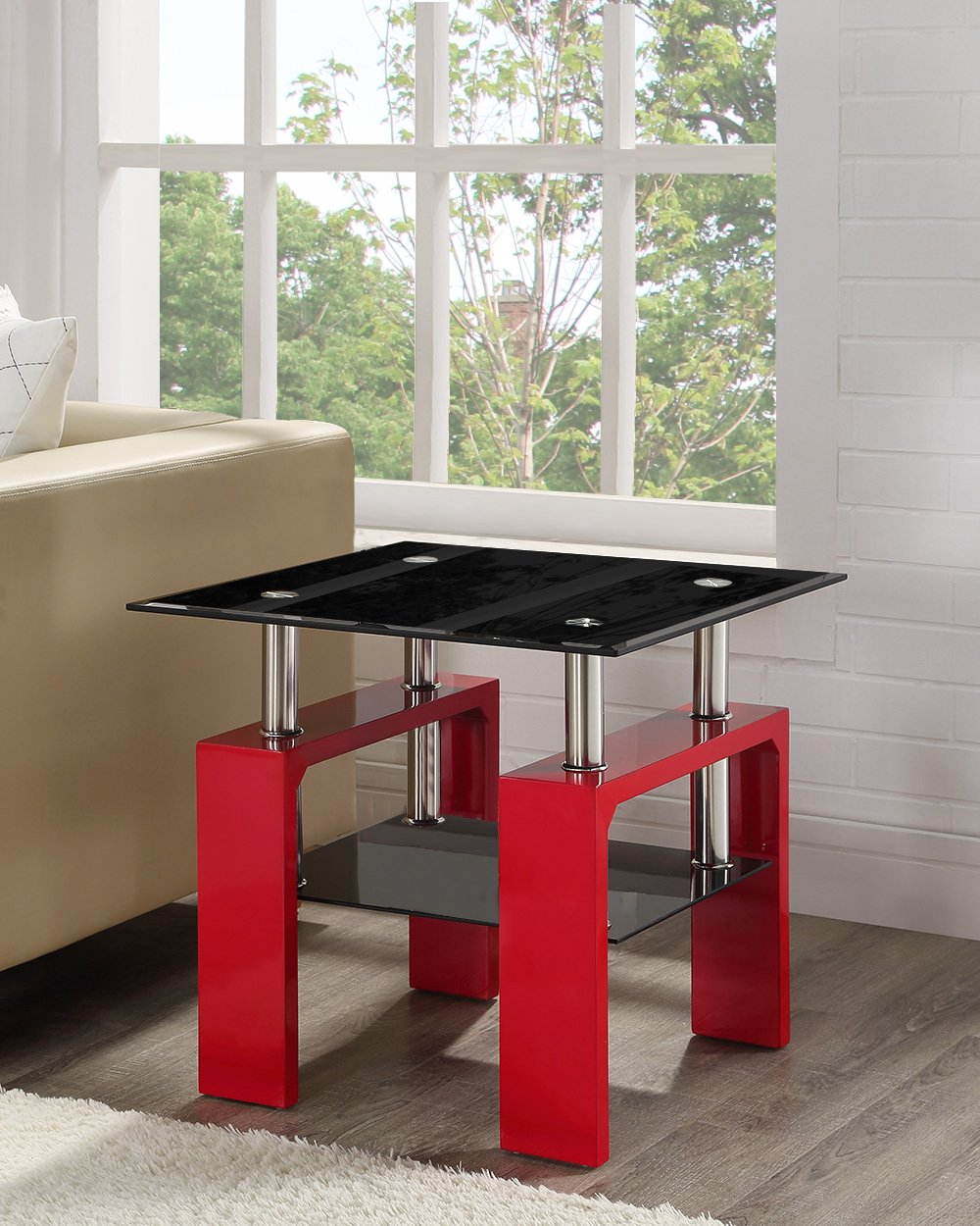 Square Black Glass Coffee Side End Table with Red Legs By