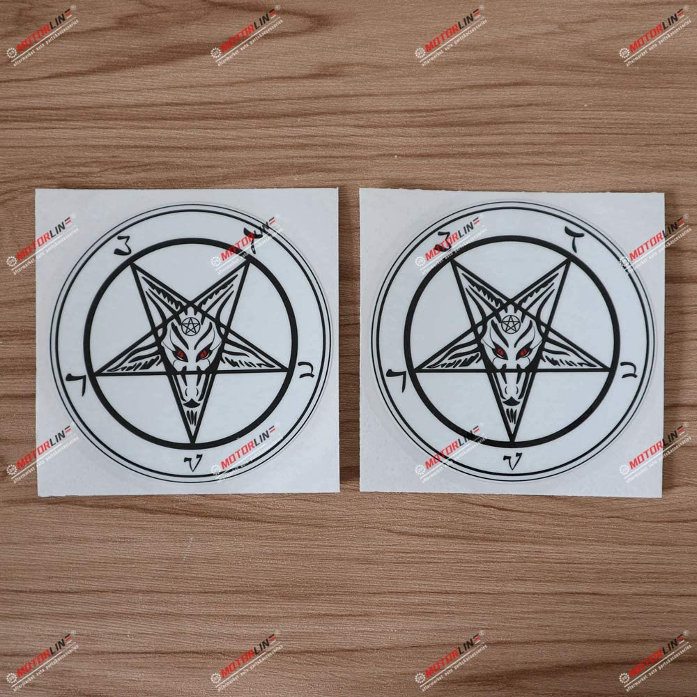 2X Glossy 4'' Pentagram Baphomet Devil Satanic Goat Decal Vinyl Sticker Car Laptop Style b