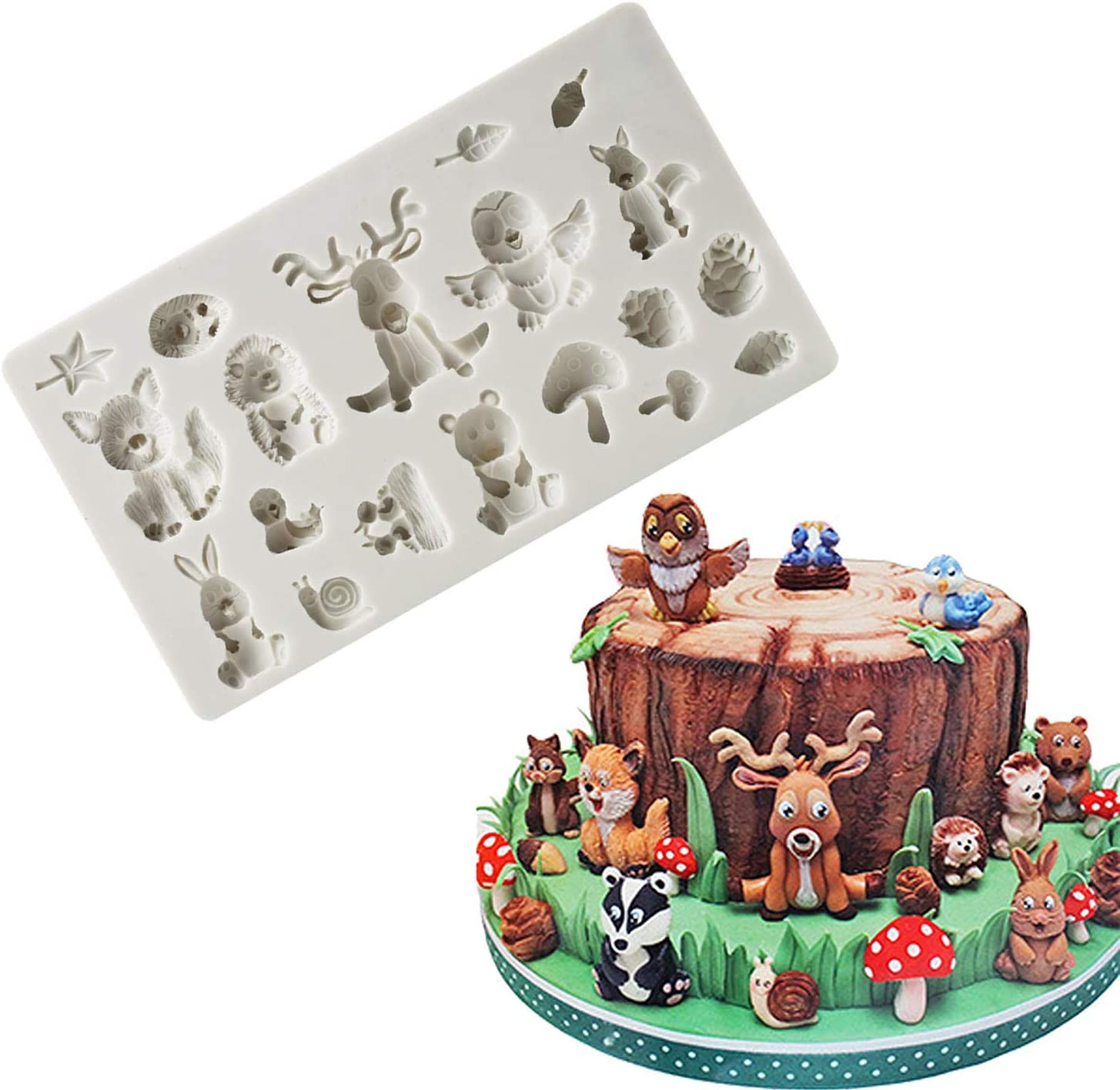 Fewo Forest Animals Fondant Molds Zoo Animal Silicone Mold for Chocolate Candy Gum Paste Polymer Clay Resin Sugar Craft Cake Cupcake Decorating Supplies (Squirrel Rabbit Sika Deer Hedgehog Mushroom)