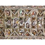 絵画風 壁紙ポスター(はがせるシール式) ミケランジェロ システィーナ礼拝堂天井画 1508-12年 システィーナ礼拝堂(ヴァチカン) キャラクロ K-MLG-001S2 (594mm×443mm) 建築用壁紙+耐候性塗料
