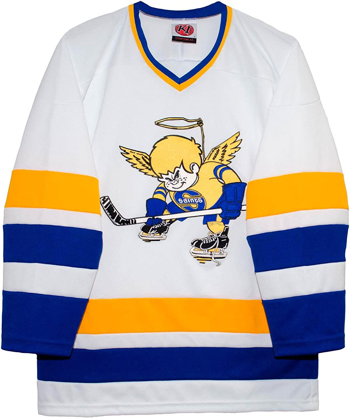 K-1 Sportswear Minnesota Fighting Saints Home White Vintage WHA Hockey Jersey