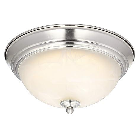 Westinghouse 64005 Lámpara de Techo de 28 cm para Interiores con LED Regulable, Acabado en níquel Cepillado con Cristal de alabastro Blanco, 15 W, 28 ...