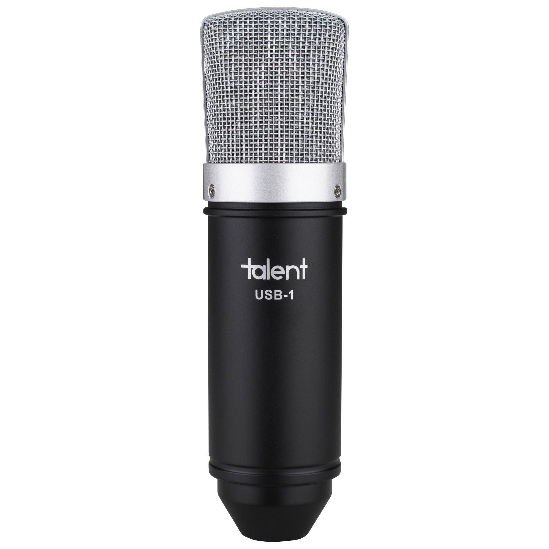 Talent USB-1 Studio Condensador Micrófono USB con trípode - Montaje de choque - Cable USB