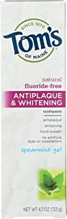 product image for Tom's of Maine, Fluoride Free Antiplaque & Whitening Toothpaste - Spearmint Gel, 4.7 Ounce