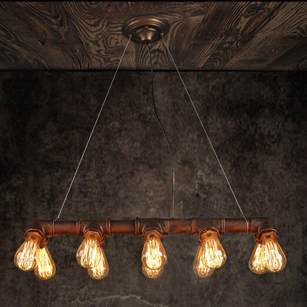 Winsoon retro industrial steampunk lamp iron pipe island ceiling fixture pendant light vintage bronze