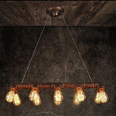 WINSOON Retro Industrial Steampunk LAMP Iron Pipe Island Ceiling Fixture Pendant Light Vintage (Bronze)
