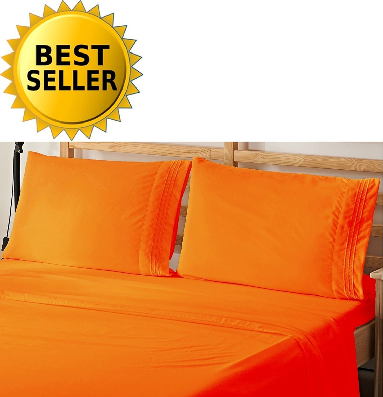 4-Piece Bed Sheet Bedding Set Full, Flame Orange
