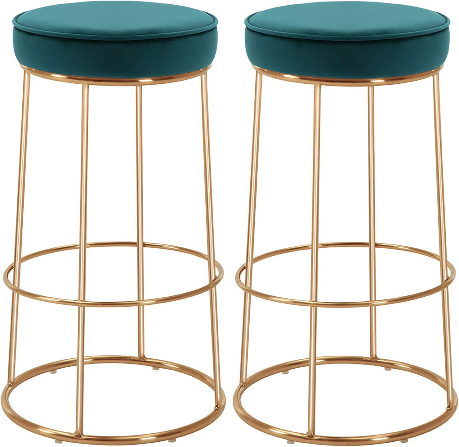 Duhome Velvet Bar Stools Set of 2, Gold Bar Stool Kitchen Stool, Modern Counter Height Bar Stools Breakfast Dining Chairs Counter Stool 28 Inches Atrovirens
