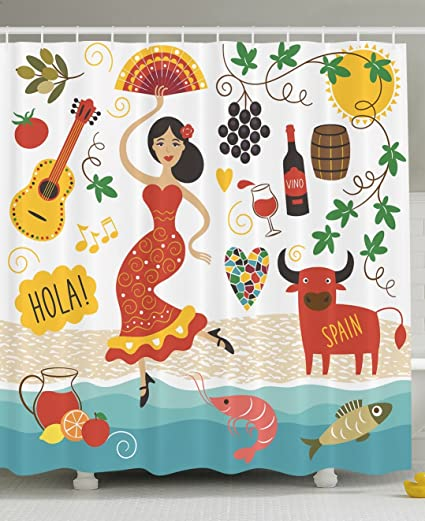 Ambesonne Spain Shower Curtain Landmarks And Symbols Flamenco Barcelona Spanish Seafood Europe Vacation Travel