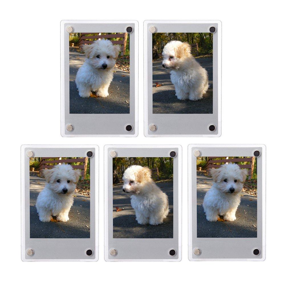 FoRapid 5 PCS 3-inch 2-Sided Clear Acrylic Refrigerator Magnetic Photo Frame-Elegant Frameless Display Fujifilm Instax Mini 9 8 8+ 70 7s 90 25 26 50s Film/Cards/Memos/HP pocket Photo Paper/2x3 Photo