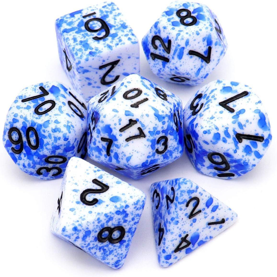 Haxtec DND - Juego de dados (7 piezas, poliedrales D&D, para juegos de dados como mazmorras y dragones), Sangre azul: Amazon.es: Juguetes y juegos