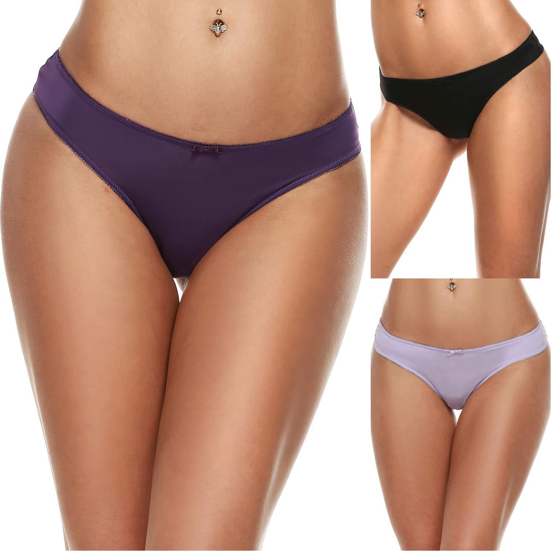 Ekouaer Womens Thong Panties Underwear Assorted 3 Pack
