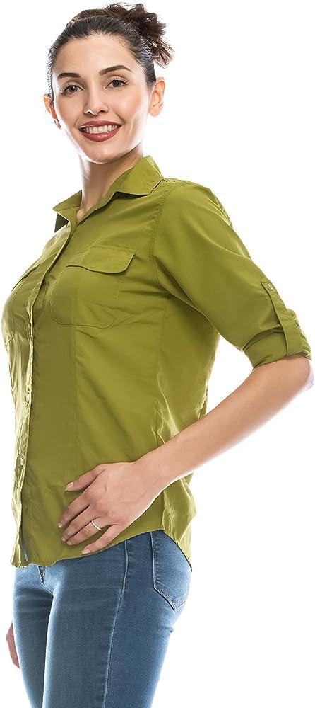 ANGEL COLA - Camisa de Manga Larga para Mujer con protección Solar UPF 50+ - Verde - Medium: Amazon.es: Ropa y accesorios