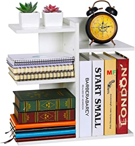 PAG Wood Desktop Bookshelf Assembled Countertop Bookcase Literature Holder Accessories Display Rack Office Supplies Desk Organizer, White