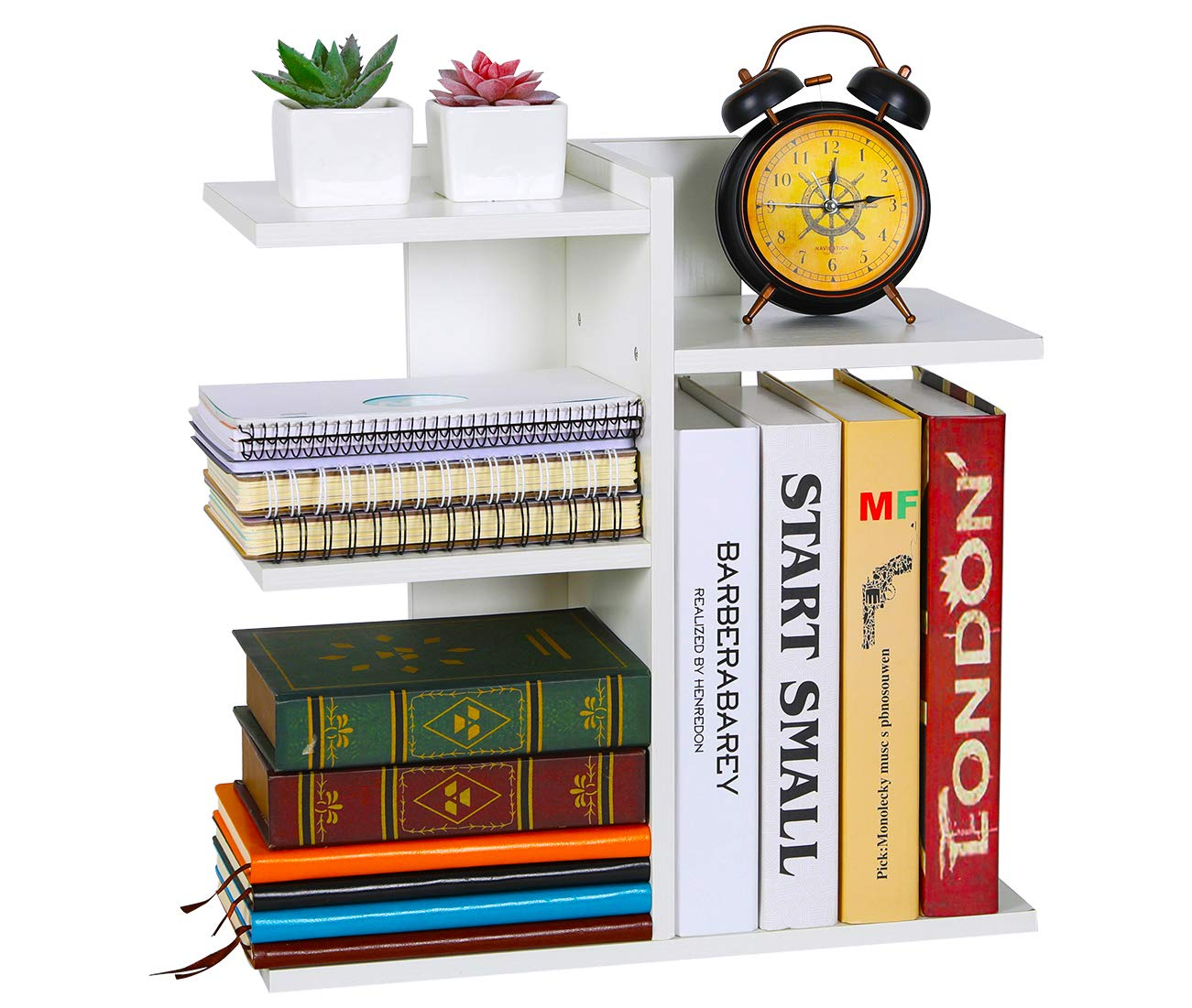 PAG Wood Desktop Bookshelf Assembled Countertop Bookcase Literature Holder Accessories Display Rack Office Supplies Desk Organizer, White by PAG (Image #9)