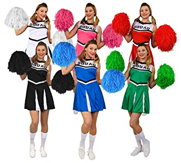 dfbcb26bd264 LADIES BLACK HIGH SCHOOL CHEERLEADER + JUMBO POM POMS FANCY DRESS COSTUME  WOMENS CHEER CAPTAIN AMERICAN