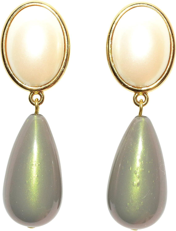 Muy barroco: dorados pendientes Clip con un perlmuttfarbenen piedra y un disipadoras grises colgante