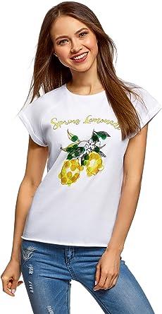oodji Ultra Mujer Camiseta de Algodón con Estampado y Lentejuelas: Amazon.es: Ropa y accesorios