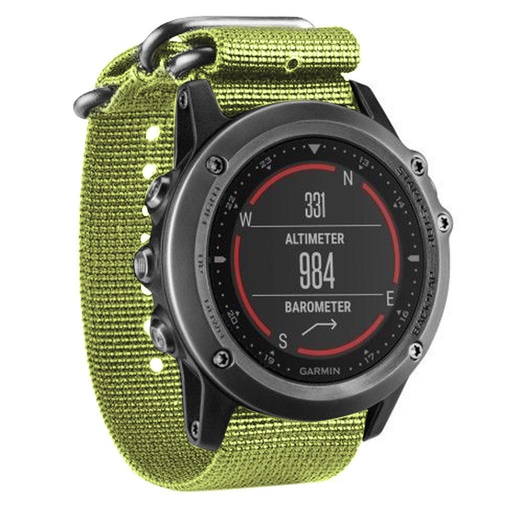 DDLBiz Fashion Luxury Nylon Strap 5 Ring Watch Replacement Band For Garmin Fenix 3 (Green)