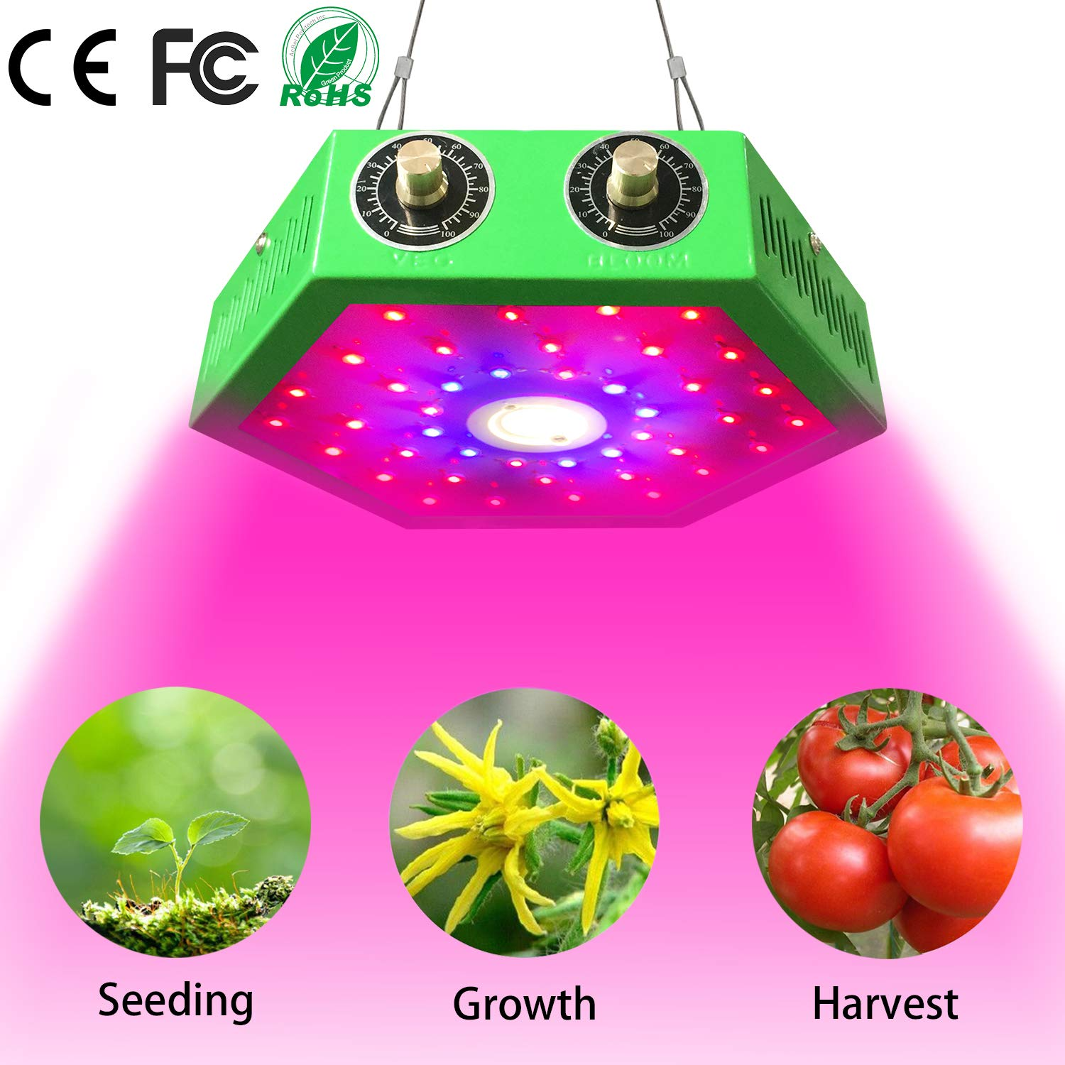 1000W COB LED Grow Light- Adjustable Full Spectrum for Indoor Plants- Grow Light Bulb-Veg and Bloom/Flower Light for Grow Tents/Greenhouse Basement Planting(Double-chip 10W LEDs) (1000W) by Power Planet