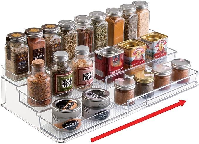 mDesign Portaspezie cucina in metallo nero Ripiano salvaspazio autoadesivo a 3 livelli per barattoli Ampio portaoggetti cucina per spezie o condimenti