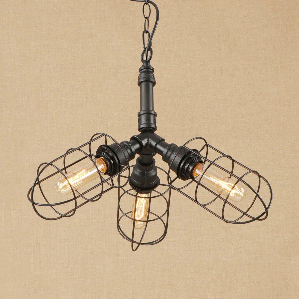 Rustikales Wasserpfeiflicht Ceiling Light, Vintage Design Industrial Pendant Light, Bar Restaurant Coffee Shop DREI Lichter Retro Chandeliers (schwarz)