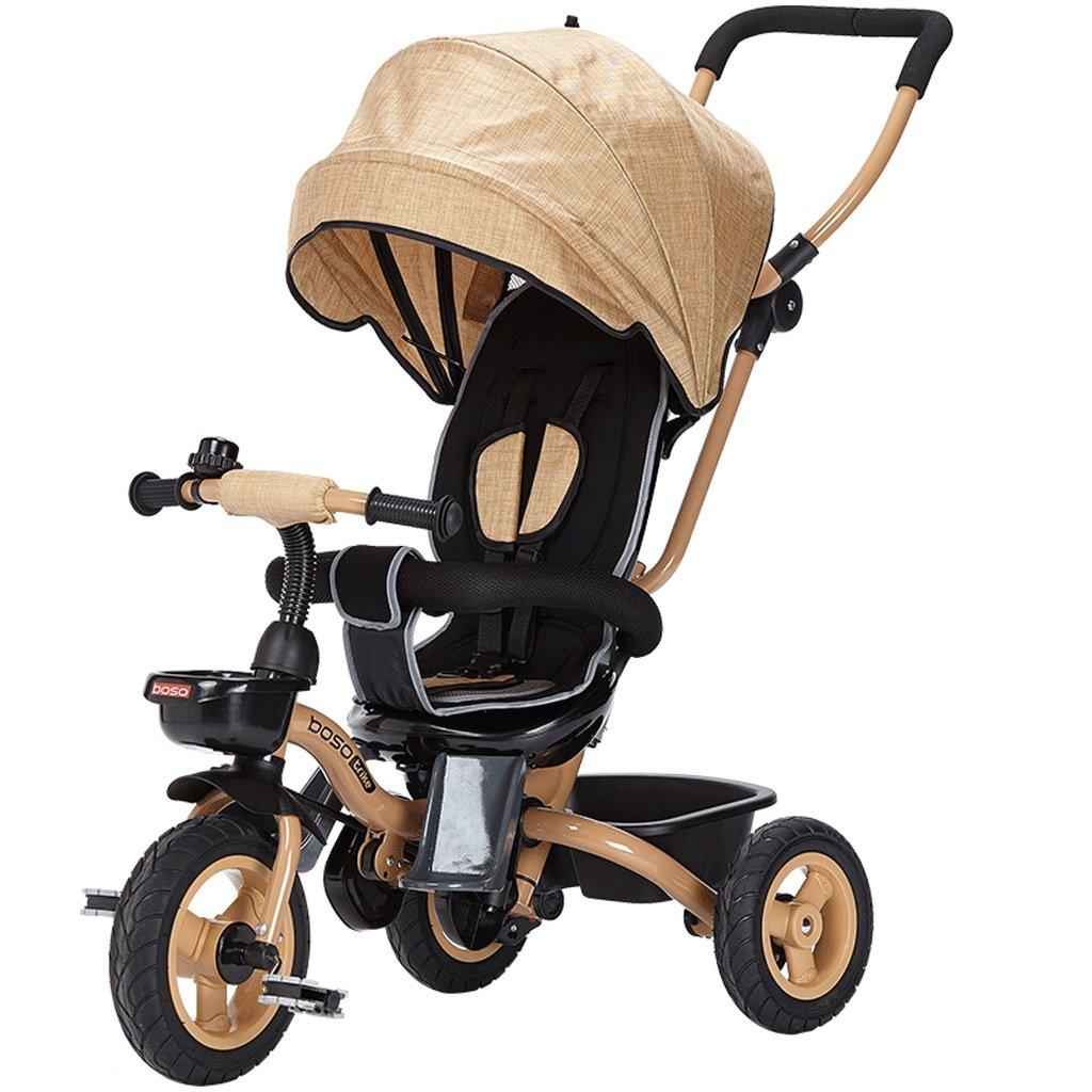子供の三輪車1-5折り畳み式ベッドベビー自転車ベビー自転車、パープル、ブラウン、76 * 45 * 102cm ( Color : Brown ) B07CGM53BH