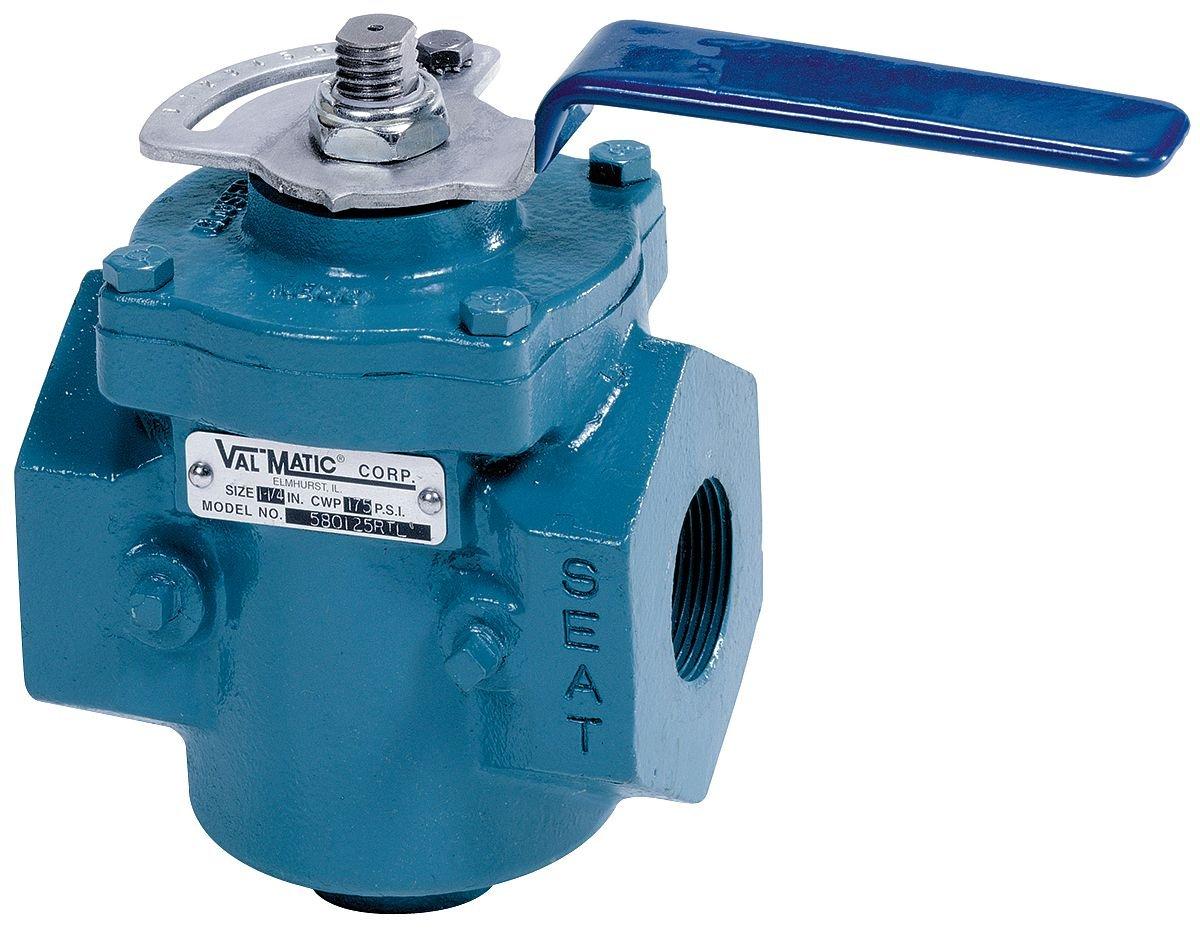 Val-matic 1-1//2 Pipe Size 5801.5RTL 6-3//4L x 7-1//8H Cast Iron FNPT Plug Valve