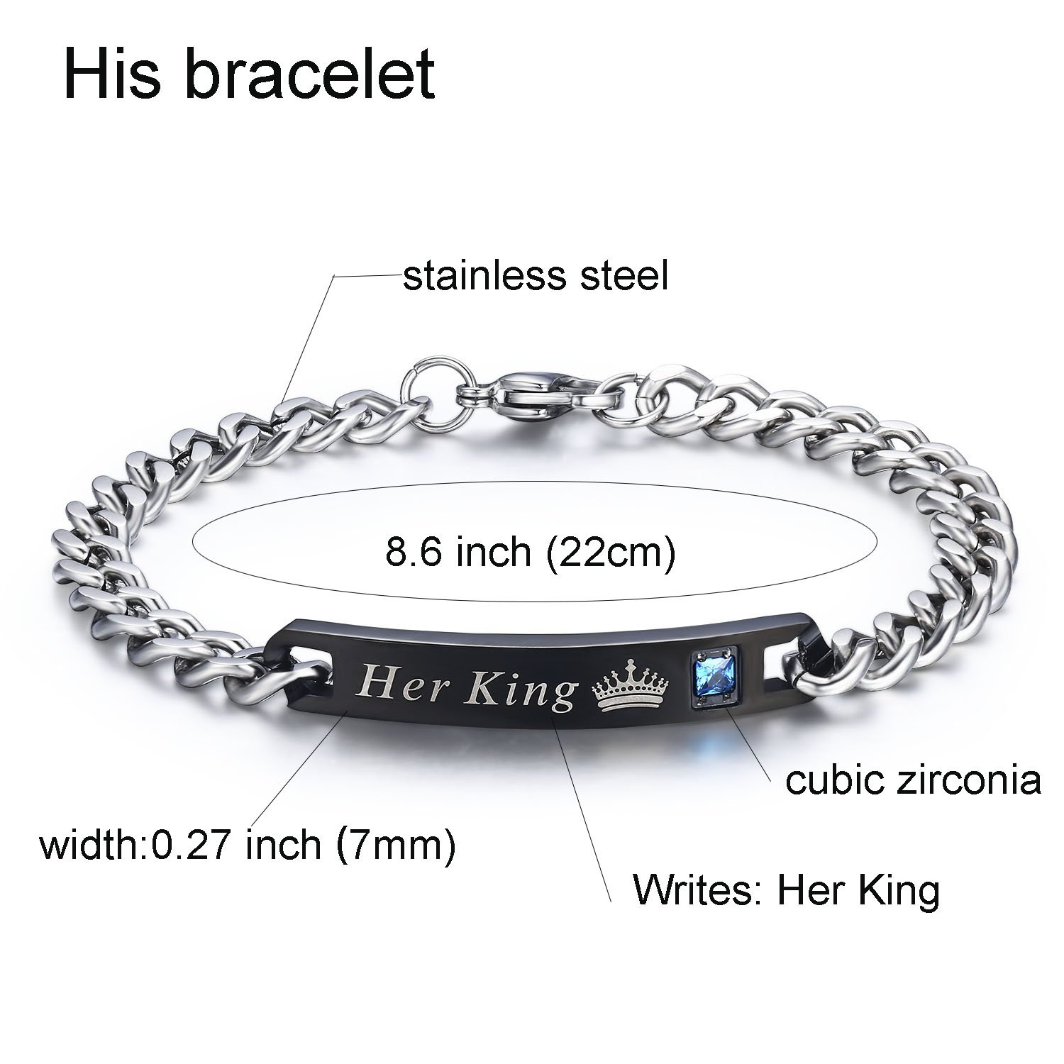 LAVUMO His Her Matching Set Couple Anniversary Bracelet Stainless Steel Cubic Zirconia His Queen Her King (His Queen Her King(1 pair))