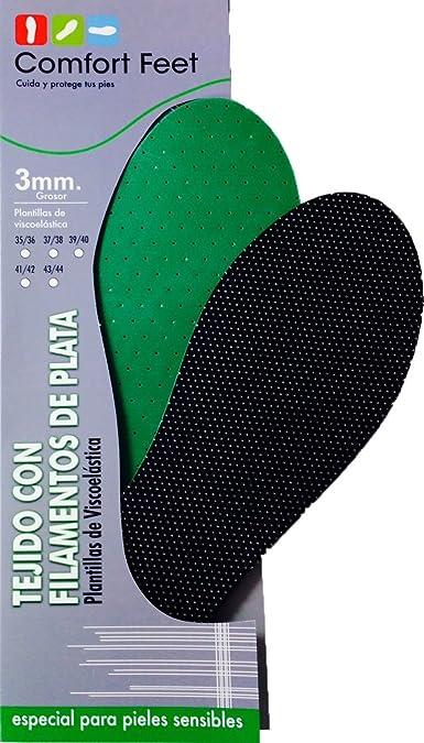 Comfortfeet Plantillas de Viscolátex con Filamentos de Plata, para los pies con problemas. Made in Spain (43/44, Grosor: 3mm): Amazon.es: Zapatos y complementos