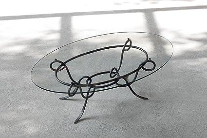 ACHILLE - Tavolino da salotto in ferro battuto e vetro Ovale ...