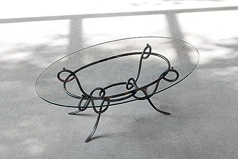 Tavolini In Vetro E Ferro Battuto : Achille tavolino da salotto in ferro battuto e vetro ovale