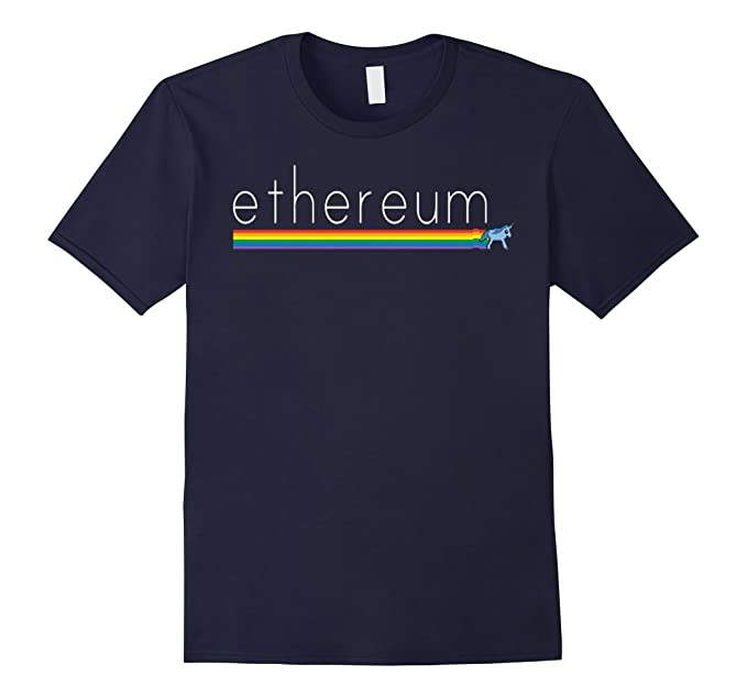 Mens Ethereum Unicorn Eth logo shirt XL Navy