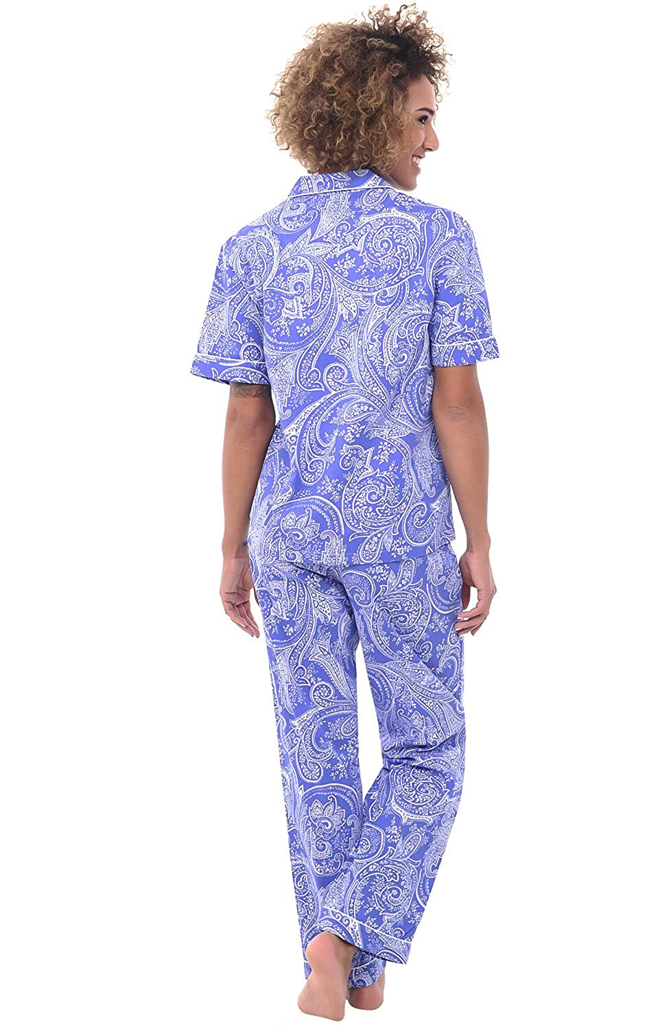 Alexander Del Rossa Womens Cotton Pajamas, Woven Pj Set with Pants at Amazon Womens Clothing store: