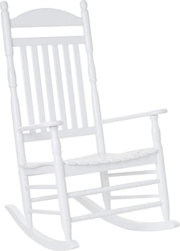Cambridge Casual Solid Wood Bentley Traditional Porch Rocking Chair, White