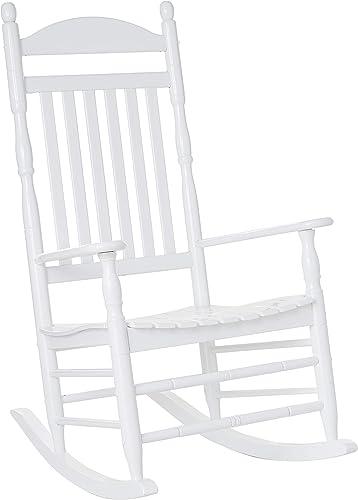 Kinbor Rattan Rocker Chair Outdoor Garden Rocking Chair Wicker Lounge w Cushion Orange